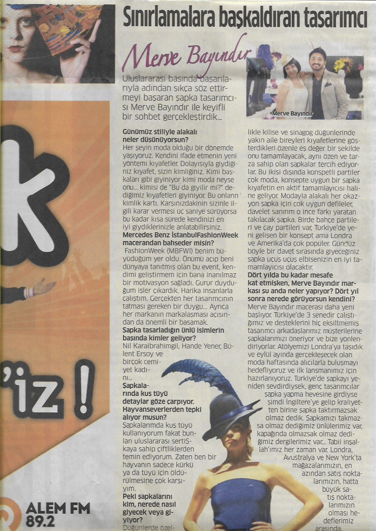 Aksam Newspaper Umit Temurcin and Merve Bayindir interview